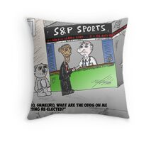 Binary Options News Caricature of Obama wagering at S and P booth Throw Pillow