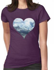Blue Sky Heart Womens Fitted T-Shirt