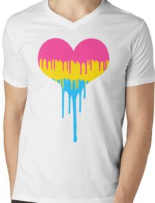 Pansexual Pride Drip Heart Mens V-Neck T-Shirt