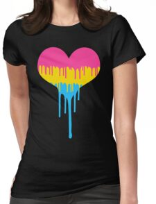 Pansexual Pride Drip Heart Womens Fitted T-Shirt