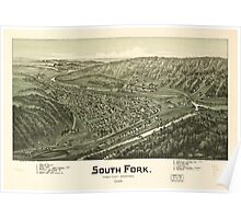 Panoramic Maps South Fork Cambria County Pennsylvania 1900 Poster