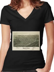 Panoramic Maps South Fork Cambria County Pennsylvania 1900 Women's Fitted V-Neck T-Shirt