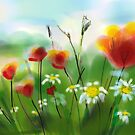 *Poppies and Daisies Painting* by DeeZ (D L Honeycutt)