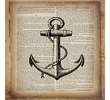 rustic nautical  captain newspaper print vintage anchor  Photographic Print