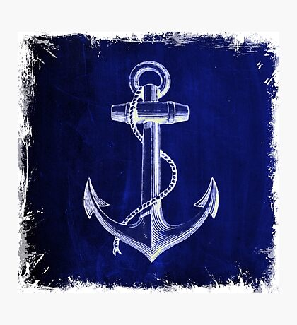 Rustic beach sailor fashion Navy blue anchor nautical  Photographic Print