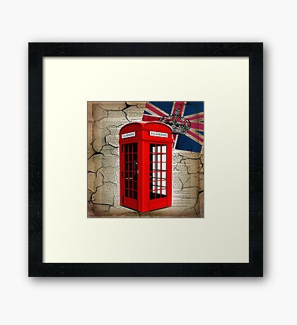 rustic grunge union jack retro london telephone booth Framed Print