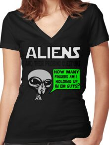 Funny Saying- Aliens Ask the Probing Questions Women's Fitted V-Neck T-Shirt