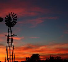 Kansas Colorful Windmill Silhouette by ROBERTDBROZEK