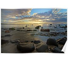 Rock on the edge of the water - 7 Mile Beach, Tasmania, Australia Poster