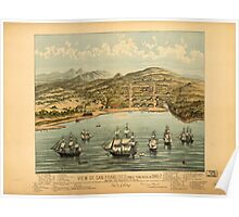 Panoramic Maps View of San Francisco formerly Yerba Buena in 1846-7 before the discovery of gold Poster