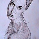 Detailed pen drawing of  a girl by Chris-Hayes