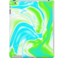 trendy watercolor spring bright aqua blue neon green swirls iPad Case/Skin