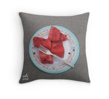 Summer with Red Throw Pillow