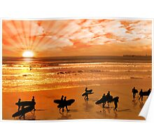surfers walking on glorious sunset beach Poster