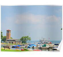 Chautauqua Lakefront with Bell Tower Poster