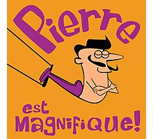 Pierre est Magnifique - cartoon drawing of trapeze artist with handsome mustache Photographic Print