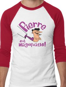 Pierre est Magnifique - cartoon drawing of trapeze artist with handsome mustache Men's Baseball ¾ T-Shirt