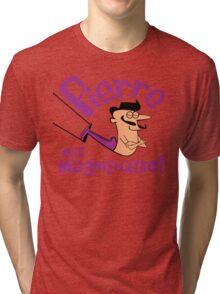 Pierre est Magnifique - cartoon drawing of trapeze artist with handsome mustache Tri-blend T-Shirt