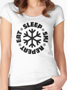 Eat Sleep Ski Repeat Women's Fitted Scoop T-Shirt
