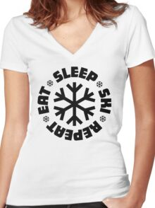 Eat Sleep Ski Repeat Women's Fitted V-Neck T-Shirt