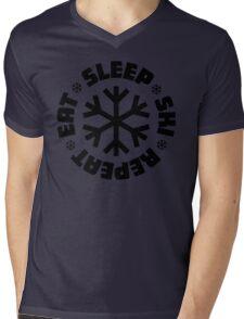 Eat Sleep Ski Repeat Mens V-Neck T-Shirt