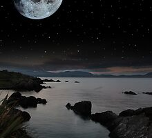 tranquil night time coastal irish view by morrbyte