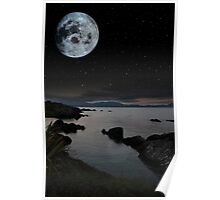 tranquil night time coastal irish view Poster