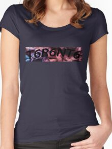 Toronto Logo Reverse BLACK Women's Fitted Scoop T-Shirt