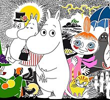 The Moomin Family at the Seaside by mrtart