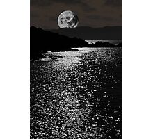 tranquil rocky kerry moonlit night view Photographic Print