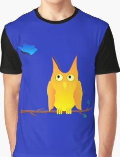 Owl and Butterfly Graphic T-Shirt