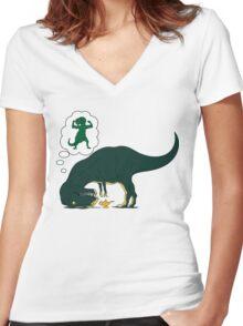 T rex Lamp Women's Fitted V-Neck T-Shirt