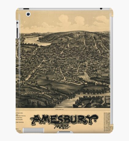 Panoramic Maps Amesbury Mass iPad Case/Skin