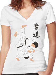 Japanese Judo T-Shirt Women's Fitted V-Neck T-Shirt