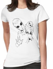 Alien Greeting Womens Fitted T-Shirt