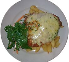 Chicken Parmagiana with Napolitana sauce, ham, mozzarella cheese, wild rocket salad and chips by parmaman