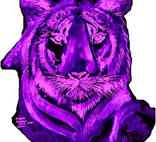 Purple tiger T SHIRT/STICKER by Shoshonan