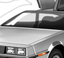 Legendary DeLorean sportscar, 80-ies symbol. Sticker
