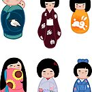 Kokeshi stickers 3 by Joumana Medlej