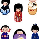 Kokeshi stickers 4 by Joumana Medlej