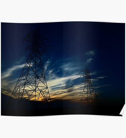 Electric Frozen Sunset Poster