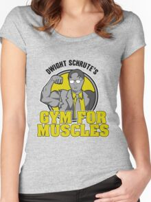 Dwight Schrute's Gym for Muscles Women's Fitted Scoop T-Shirt