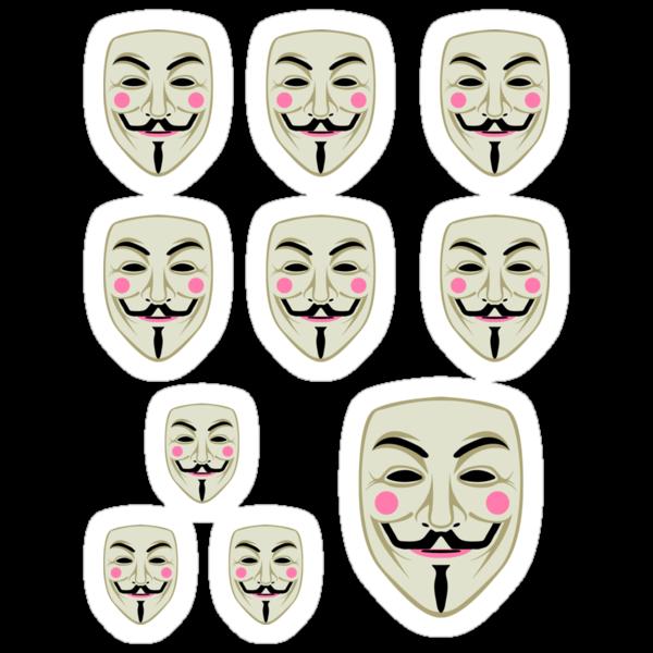 Guy Fawkes Mask Sticker Set by LibertyManiacs