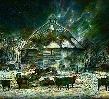 WINTERY ~ AT 10 SIDED BARN by Tammera
