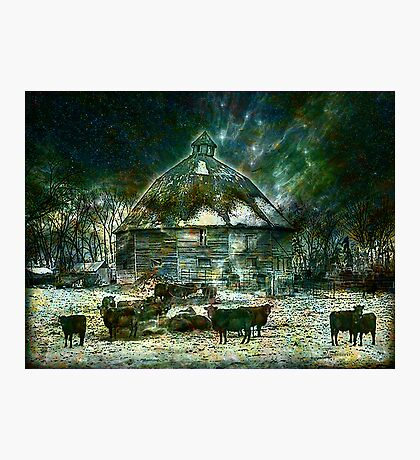 WINTERY ~ AT 10 SIDED BARN Photographic Print