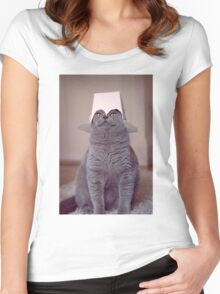 fig 1.4 - Cat with Chinese takeaway box on head Women's Fitted Scoop T-Shirt