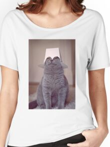 fig 1.4 - Cat with Chinese takeaway box on head Women's Relaxed Fit T-Shirt