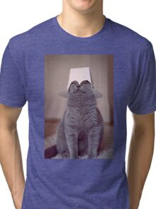 fig 1.4 - Cat with Chinese takeaway box on head Tri-blend T-Shirt