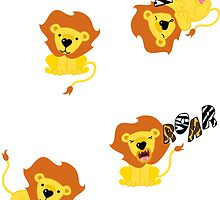 Olly the Lion Sticker Set by thickblackoutline