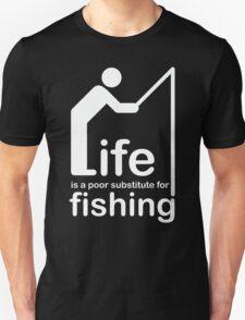 Fishing v Life - White Graphic Unisex T-Shirt